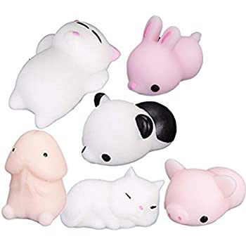 Datingday 6 Pack Kawaii Adorable Cute Mini Squishy Toy Animal Squeeze Stretch Compress Slow Rising Healing Stress Reduce Relieve Ball Squishy Panda, 2 Cats, ...