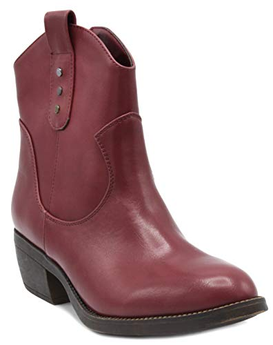 with Western Calf Thriller Boot Rampage Mid Women's Side Zip Shaft Low Ladies Red qYq1xFz