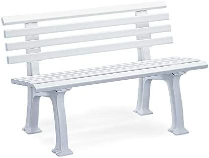 Plow Hearth German-Made, Weatherproof Resin Garden Bench – White