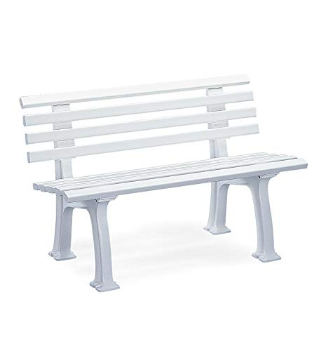 Plow & Hearth German-Made, Weatherproof Resin Garden Bench - White