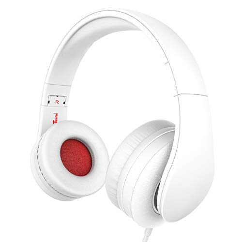 Headphones, JNTworld Headphones with Microphone for Travel, Work, Sport, DJ, Collapsible Classic Headset with Handmade Drivers for iPhone and Android Devices, White