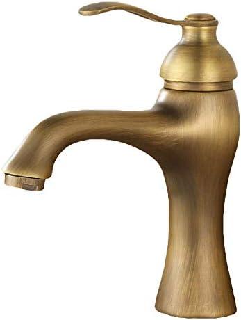 ZKS-KS バスルームのシンクは、スロット付き浴室の洗面台のシンクホットコールドタップミキサー流域の真鍮のシンクの蛇口アンティークヨーロッパの洗面蛇口の全面銅バスルームレトロなハンドウォッシュ洗面流域の蛇口ホットとコールドタップ