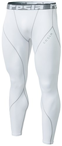 Tesla CLSL TM-YUP33-WHT_Large Men's Thermal Wintergear Compression Baselayer Pants Leggings Tights YUP33 by Tesla