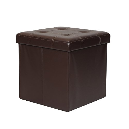 "Otto & Ben 15"" Storage Folding Toy Box Chest with Memory Foam Seat Tufted Faux Leather Small Ottomans Bench Foot Rest Stool, 15""x15""x15"", Brown from Otto & Ben"