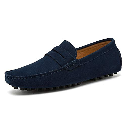 - Go Tour Men's Penny Loafers Moccasin Driving Shoes Slip On Flats Boat Shoes Dark Blue 14/50