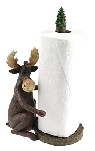 - Rustic Axentz Sitting Moose Paper Towel Holder Display Rack, 14-inch, Lodge Decor