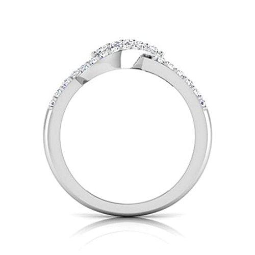 14K Or blanc, 0,49carat Diamant Taille ronde (IJ   SI) en diamant