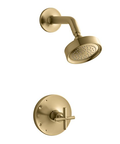 KOHLER TS14422-3-BGD Purist Rite-Temp Shower Valve Trim with Cross Handle and 2.5 gpm showerhead, Vibrant Moderne Brushed - Pressure Rite Balancing Temp Gold