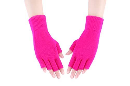 (WDSKY Girls' Knitted Half Finger Gloves Warm Stretchy Hot)