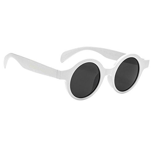 MonkeyJack Women Mirrored Lenses Designer Retro Vintage Hippie Hipster Round Sunglasses - Style2-White, as - White Round Sunglasses Retro