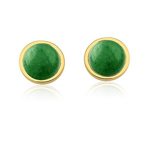 Brinco semijoia círculo único pedra quartzo verde