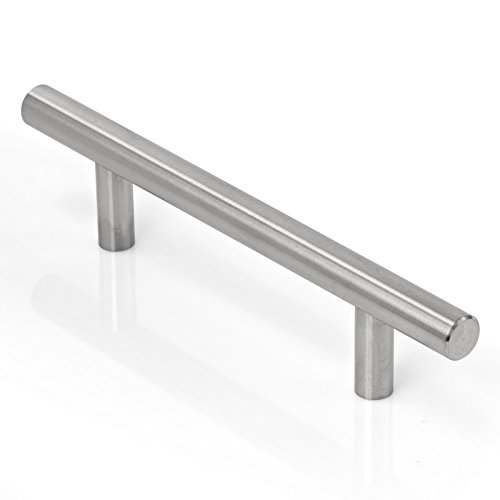 Cauldham Solid Stainless Steel Euro Style Cabinet Pull T Handle Brushed Nickel Design 3-3/4