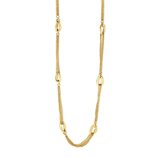 14K Yellow Gold 6-Curved Oval Element Looped on Stranded Cable Chain Necklace 30