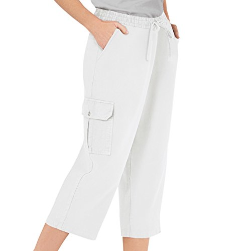 Pants Collection Womens (Collections Etc Women's Elastic Waist Cargo Pocket Capri Pant, White, XX-Large)