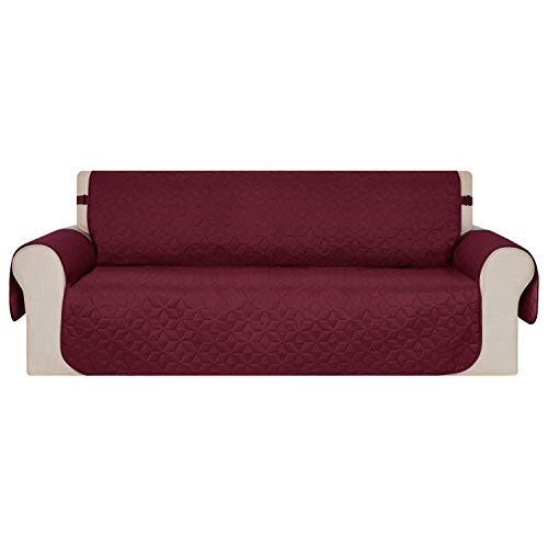 - Deconovo Original Slip-Resistant Microfiber Snowflake Quilted Sofa Protector Wine Red Couch Covers for Dogs Cats Kids