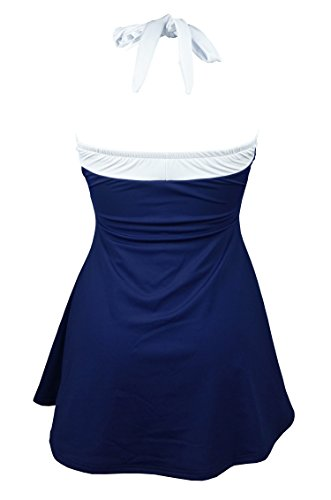 45f6b170f2 COCOSHIP White & Navy Blue Striped Plus Size Vintage Sailor Pin up Swimsuit  One Piece Skirtini Cover up Beachwear 5XL(FBA) - CSF256NW5XL < One-Pieces  ...