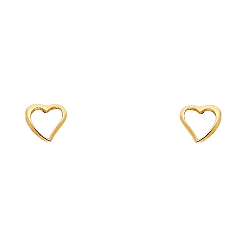 14k Yellow Gold Floating Heart Stud Earrings with Screw Back 14k Yellow Heart