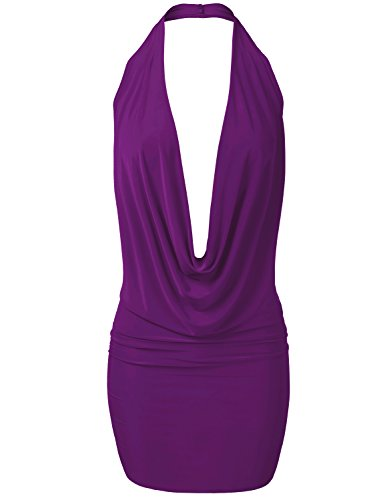 lightweight-sexy-low-cut-halter-loose-front-draping-dresses