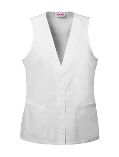 Professional Whites by Cherokeewomen's Button-Front Vest Solid Scrub Top XXX-Large ()