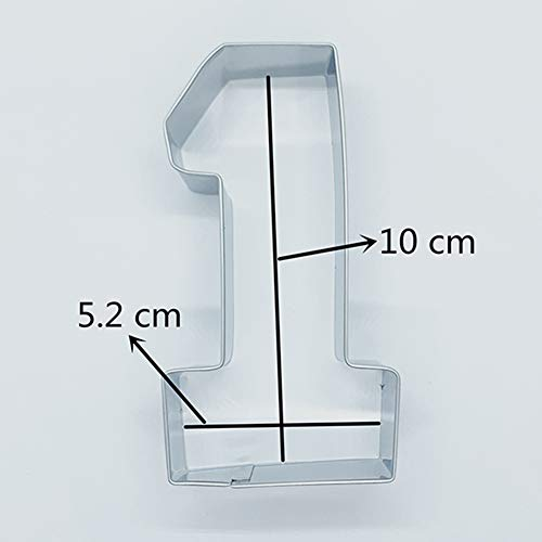 KENIAO Large Number 1 Cookie Cutter for Kids NO. One Fondant/Biscuit/Cutter Shape - 4 x 2.2 inches - Stainless Steel