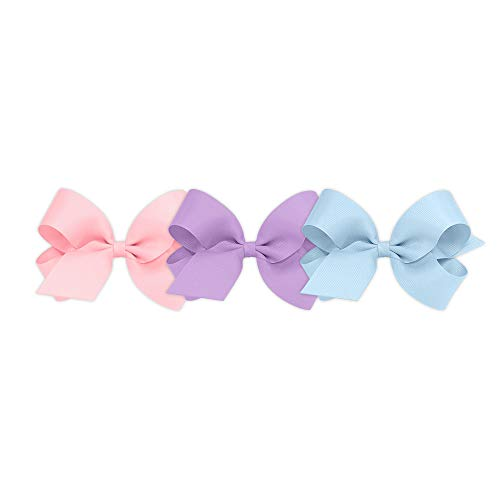 Light Pink Clip - Wee Ones Girls' Large Bow 3 pc Set Solid Grosgrain Variety Pack on a WeeStay Clip - Light Pink, Light Orchid, Millennium Blue