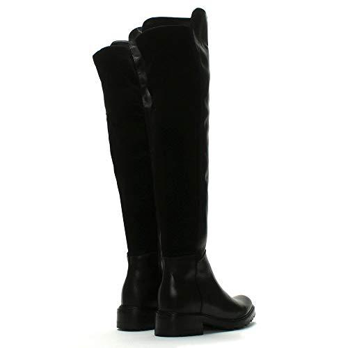 Cuir De Lamica Sur Genou Noir Leather Le Black Arrière S'étirent Bottes En Les 66rz5qvxwS