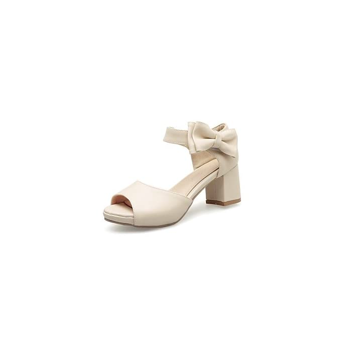 Yff Donna Sandali Casual In Similpelle Tacco Bowknot Hook amp; Loop beige us5