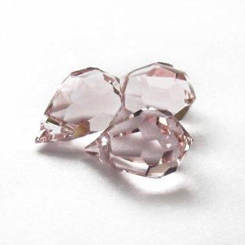 10 pcs Rosaline Pink Glass Faceted Teardrop Briolette Beads, Top drilled faceted briolette 10mm (Pink Briolette Crystal)