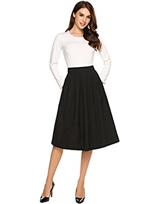 Zeagoo Women's High Waist Flared A-Line Pleated Midi Long Skirt with Pocket S-XXL