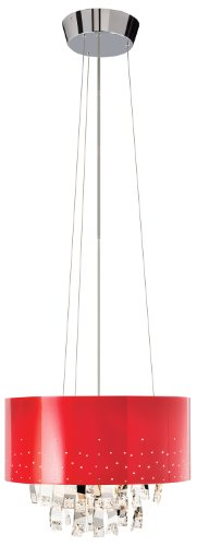 Elan Lighting 83144 Vallo 6LT Pendant, Chrome Finish with Red Metal Shade and Clear Crystal and Chrome Accents