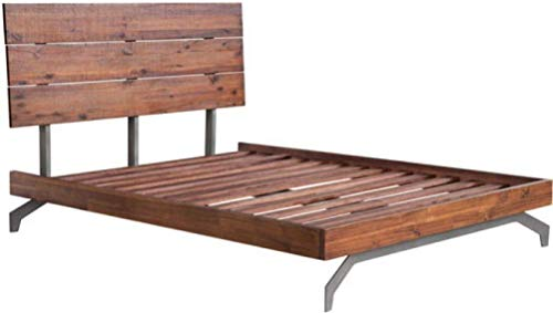 Zuo Modern 100583 Perth Queen Bed, Chestnut, Handsome Urban Rustic Bed, Support Planks Are Sturdy and Spaced, Sculptural Metal Legs, 500 lbs Weight Capacity, Dimensions 63.4