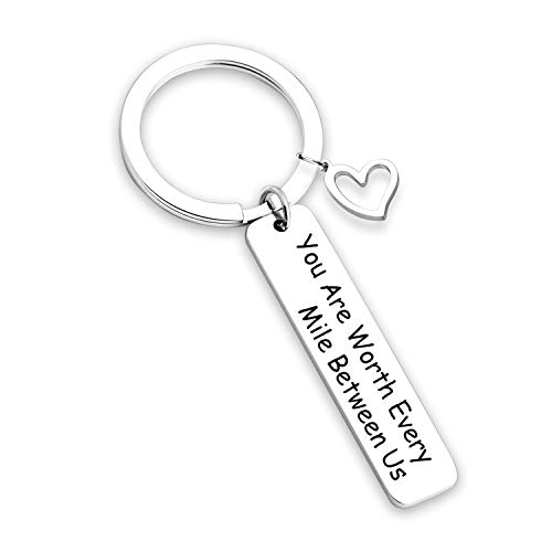 Anniversary Keychain Long Distance Relationship Gifts Couples Keychain Going Away Gift Military Jewelry Gift Deployment Gift (Worth Every Mile KR) ()