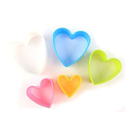 DealMux Plastic Casa Cozinha Bakeware Heart Shaped Muffin Bolo Cupcake Moldes 5 em 1