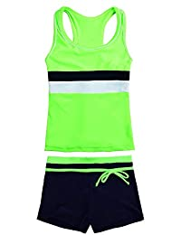 JerrisApparel Little Girls' Summer Two Piece Boyshort Tankini Kids Swimsuit (.
