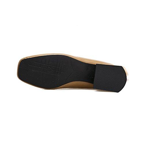 Giy Donna Classico Scarpe A Punta Quadrata Mocassini In Pelliccia Mocassini Senza Schienale Slip-on Fibbia Blazer Scarpe Tacco Basso Marrone