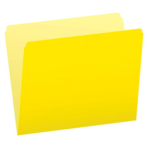Pendaflex Two-Tone Color File Folders, Letter Size, Yellow, Straight Cut, 100/BX (152 YEL)