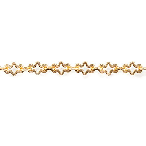 3mm 22kt Gold plated Fancy Cross Chain by the Foot ()