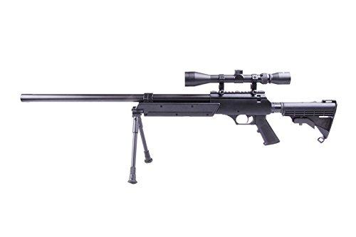 Airsoft Well MB06B sniper a muella (spring) negra . Calibre 6mm. Potencia 0, 5 Julios . Con accessorios