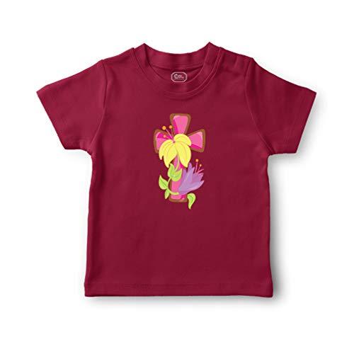 Pink Cross Yellow Flower Short Sleeve Crewneck Toddler Boys-Girls Cotton T-Shirt Jersey - Garnet, 7T