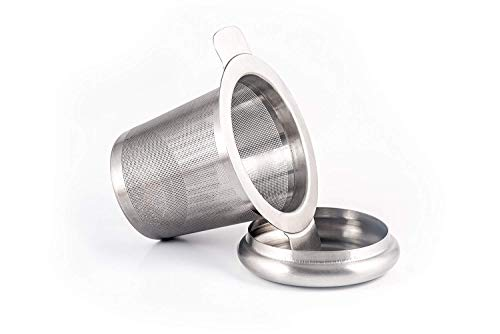 Wofalodata Perfect Single Cup Brew Strainer for Loose Leaf Teas, Stainless Steel with Lid as Drip Tray wsx-32 White