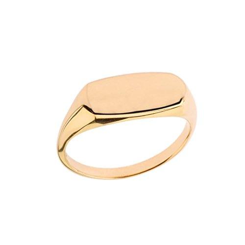 Men's 10k Yellow Gold Comfort Fit Narrow Rectangular Signet Ring (Size 10)
