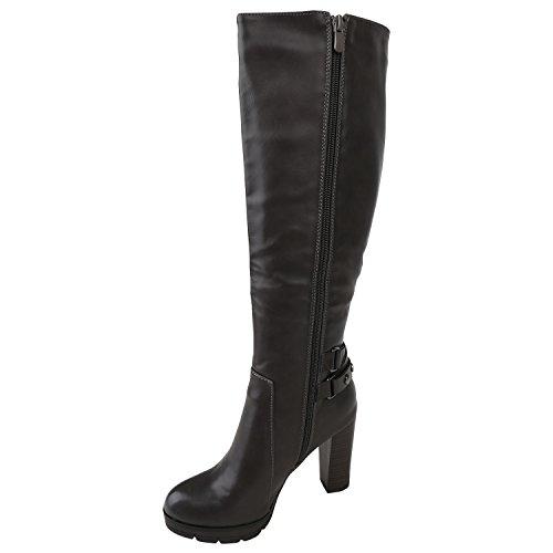 Damen Klassische Stiefel Leicht Gefütterte Schuhe Boots Holzoptik Absatz Basic Booties Leder-Optik Trichterabsatz Flandell Grau Nieten