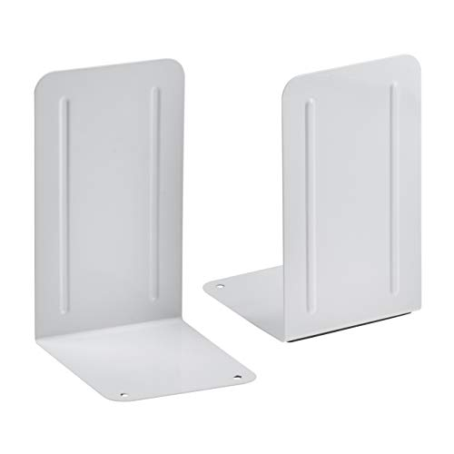 - Acrimet Premium Metal Bookends (Heavy Duty) (White Color) (1 Pair)
