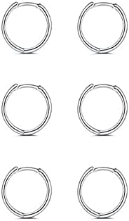 925 Sterling Silver Small Hoop Earrings - 14K White Gold Plated Silver Hoop Earrings | Tiny Endless Huggie Hoo