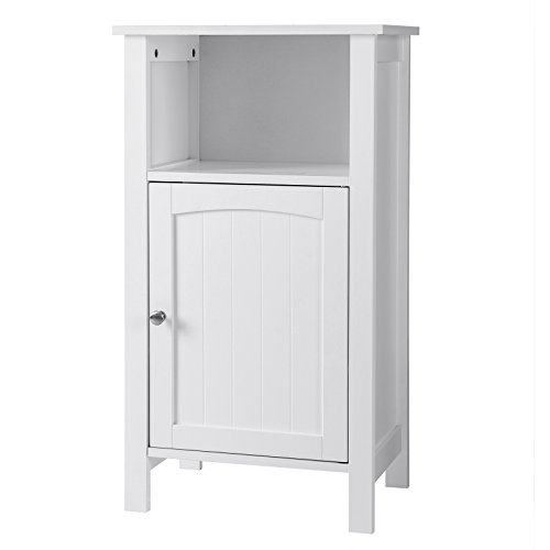 SONGMICS Bathroom Floor Storage Cabinet with Single Door Adjustable Shelf White (Paint Cabinet Shelf)