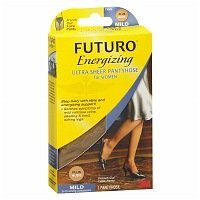 FUTURO Energizing Ultra Sheer Pantyhose For Women French Cut Mild Plus Nude, 1 Pair (Pack of 2)