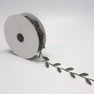 dark green - 10Yds Vintage Satin Leaf Ribbon Vine Garlands Sew On Lace Trim For Bridal Dress by alpinetopline