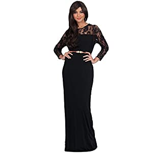 5915dc7d2f8 KOH KOH Petite Womens Long Sleeve Sleeves Slimming Lace Formal Evening  Elegant Fall Bridesmaid Wedding Guest Cute Sexy Gown Gowns Maxi Dress  Dresses