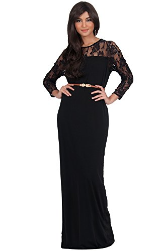KOH KOH Womens Long Long Sleeve Lace Slimming Tube Evening Cocktail with (Designer Bridesmaid Dresses)