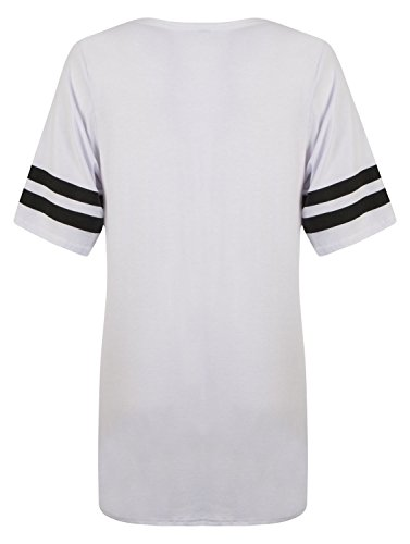 Fast Fashion Top manga corta de las mujeres de 85 número de tiras de presión etc, T-Shirt blanco